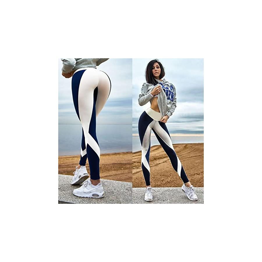 kingfansion Women's Yoga Pants High Waist Elastic Stripe Workout Leggings Fitness Sweat Pants Running Fitness Riding Pants