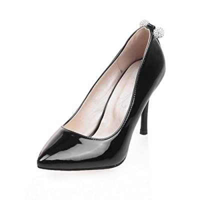 AdeeSu Mesdames Sexy Brevet Chaussures Pompes en Cuir Noir, 37 EU, SDC00059