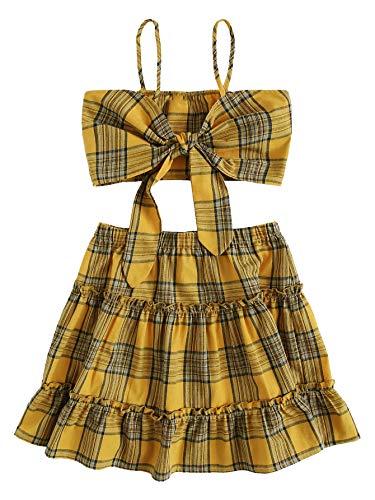 SweatyRocks Women's 2 Piece Spaghetti Strap Plaid Crop Cami Top with Skirt Set Mustard L