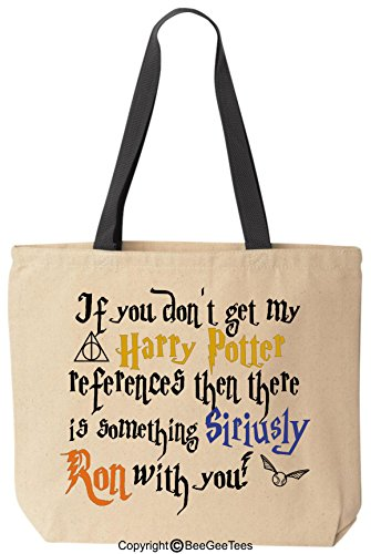 BeeGeeTees If You Don't Get My Wizard References Then There is Something Siriusly Ron with You Funny Canvas Wizard Tote Reusable Bag -