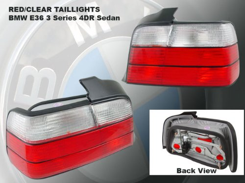 (1992-1998 BMW 3-SERIES E36 REAR BRAKE TAIL LIGHT RED/CLEAR+LED BUMPER RUNNING)