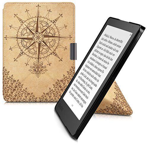 kwmobile Cover case for Kobo Aura Edition 2 with stand - Ultra slim case made of synthetic leather Baroque Compass in dark brown beige -