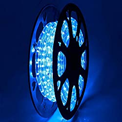 DELight 50 FT Blue 2 Wire LED Rope Light Indoor Outdoor Home Holiday Valentines Party Disco Restaurant Cafe Decor