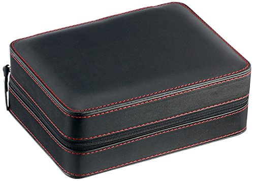 - Diplomat 31-468 Black Leather Quad Watch Zippered Travel Case with Black Suede Interior Watch Case