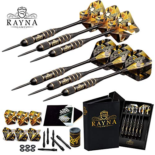 RAYNA GAMES Professional Steel Tip Darts Set with GlFT Accessories Case - Throwing Darts with Adjustable Length - 6 Brass Barrels 20 Grams + 12 Aluminum Shafts 2 Sizes + 12 Flights + Dart Sharpener