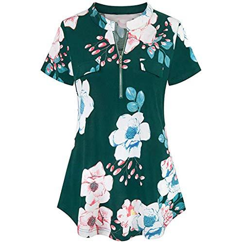 Henleys,Toimoth Fashion Womens Long Sleeve V Neck Casual Roll-up Sleeve Zipper Shirt Blouse Tops (XL, Green)