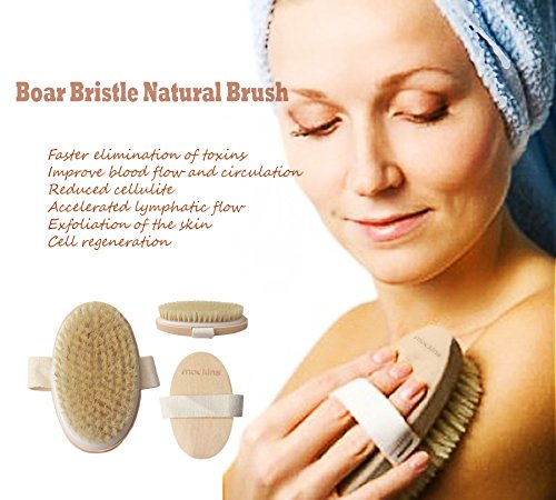 mockins Natural Boar Bristle Body Brush Set With Detachable Cellulite Brush And Long Wooden Handle For Dry Brushing Perfect Kit To Exfoliate And Alleviate Cellulite - Best Mother's Day Gift Set … … by Mockins (Image #6)