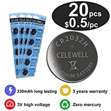 CELEWELL 20 CR 2032 3V Batteries CR2032 H 230mAh High Capacity Lithium Coin Button Cell