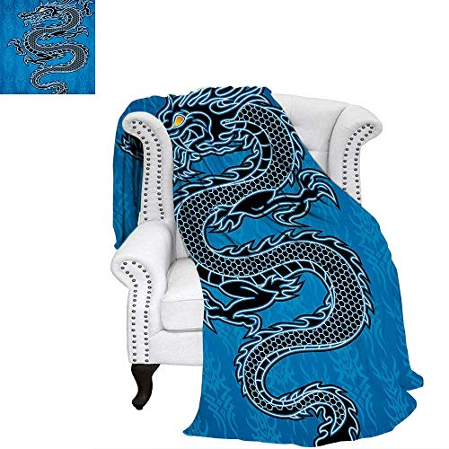 WilliamsDecor Japanese Dragon Throw Blanket Black Dragon on Blue Tribal Background Year of The Dragon Themed Art Warm Microfiber All Season Blanket for Bed or Couch 60