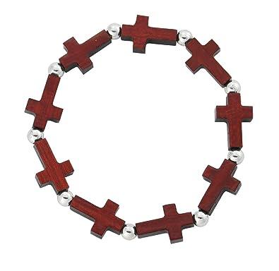 Amazon Com Mens Womens Stretchable Wooden Cross Bracelet Silver