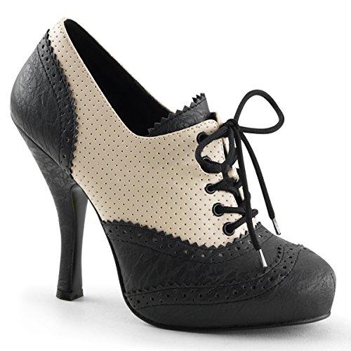Pin Up Couture Cutiepie-14 sexy High Heels Retro Mini-Plateau Oxford Schnür Pumps Lack matt Schwarz Beige Creme 35-42