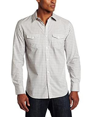 Calvin Klein Men's Long Sleeve Plaid Poplin Shirt