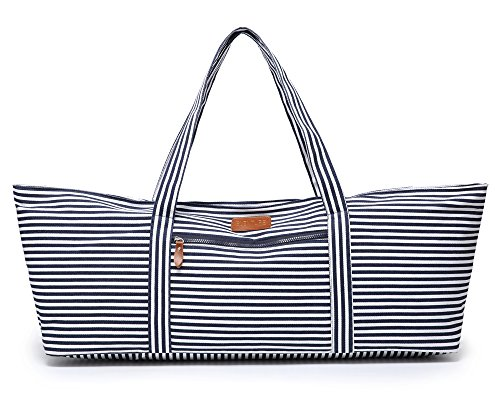 Elenture Full-Zip Extra Large Yoga Mat Tote Bag with Multi-Functional Storage Pockets for Sports Gym Pilates (Stripe)