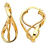 14k Yellow Gold Oval Hoop Earrings Hollow Diamond Cut Fancy Design Polished French Lock 40 x 25 mm