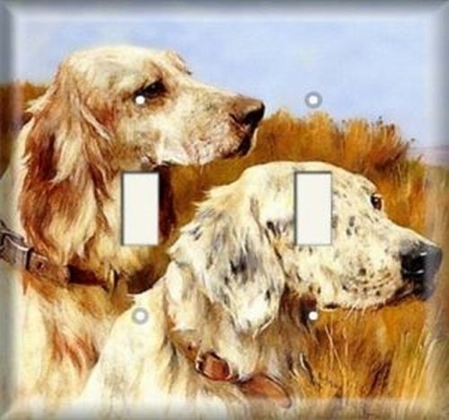 Double Light Switchplate Cover - Dogs On Prarie
