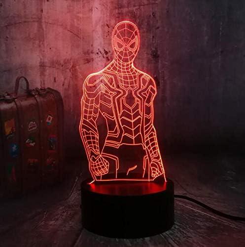 Múltiples colores superhéroe 3D LED luz de noche lámpara de mesa lámpara de mesa adornos adornos bebé niño niño juguete regalo de Navidad