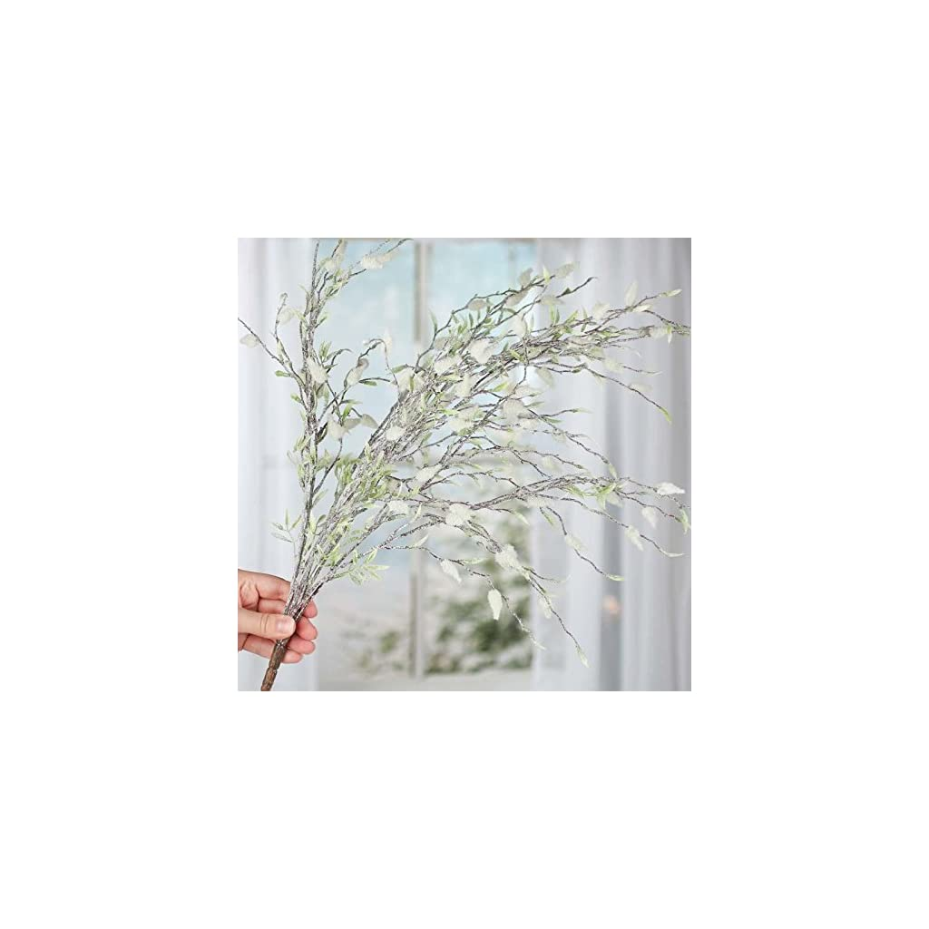 Factory Direct Craft Sparkling Frosted Artificial Pussy Willow Spray for Home Decor, Creating and Designing