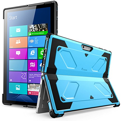 Hybrid Window (The New Surface Pro 2017 Case, [Heavy Duty] i-Blason Armorbox Dual Layer Hybrid Full-body Protective Kickstand Case Compatible With Microsoft Surface Pro 4 2016 [NO BUILT IN SCREEN PROTECTOR] (Blue))