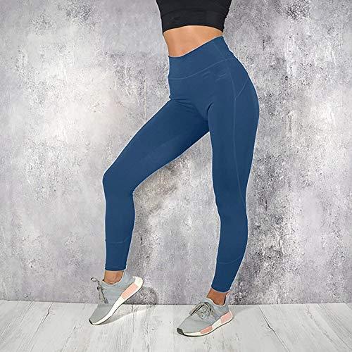 Haute Legging Sports Élastique Pilates Jogging Sport Des Imjono Trousers Couleur Unie Bleu Leggings Pantalon Femmes Pants Taille Gym De Fitness Yoga Athlétiques 7qUw0dqO