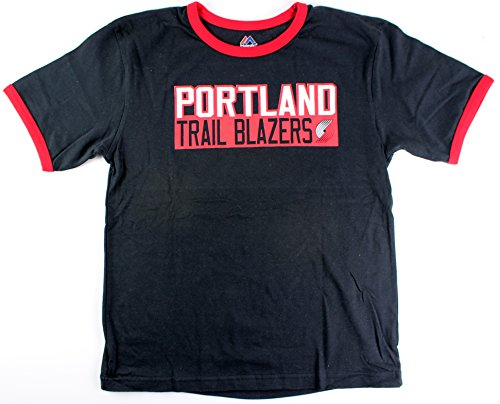 Team Color Ringer T-shirt - Majestic Damian Lillard Portland Trail Blazers #0 NBA Youth Vertical Name & Number Ringer T-Shirt (Youth Small)