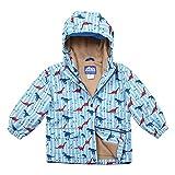JAN & JUL Kids Water-Proof Fleece-Lined Rain Coat Jacket Hooded (Dino, 2T)