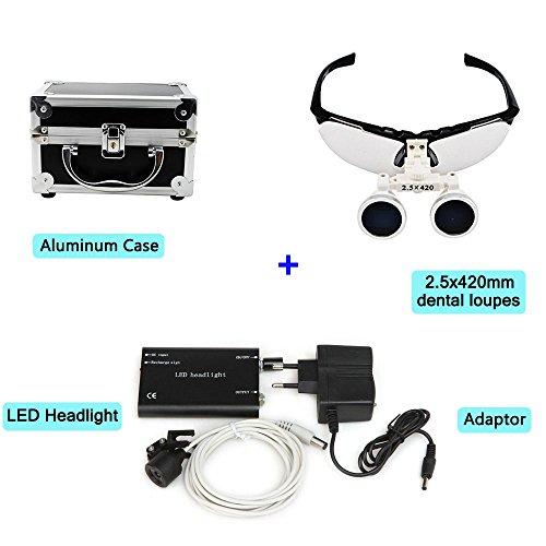 Zinnor Dental Surgical Medical Binocular Loupes Optical Glass Loupe 2.5x420mm + LED Head Light Lamp + Aluminum Case(Black)