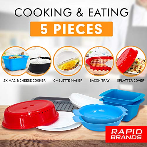 Rapid Brands Deluxe 9-Piece Microwave Cookware & Dinnerware Set | Perfect for Dorm, Small Kitchen, or Office | Dishwasher-Safe, Microwaveable, & BPA-Free