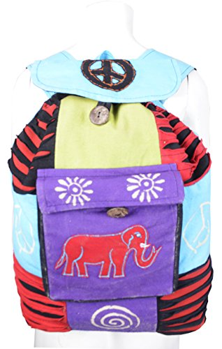 Mehrfarbiger Tote Messenger Rucksack Tasche mit Razor Cut Elephant Stickerei und Front-Button Taschen- (SDBG-1011)
