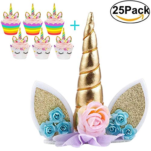 Large Unicorn Cake Topper with Eyelashes and 12Pcs Mini Cupcake Toppers with Wrappers Unicorn Party Supplies Favors for Baby Shower, Birthday Party and Wedding