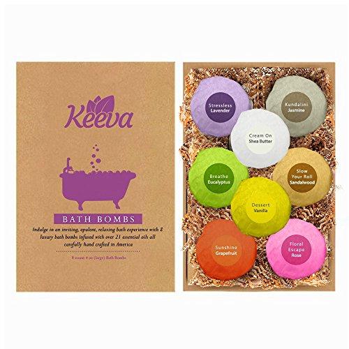 Keeva 8 bain bombes ensemble-cadeau - meilleur oz 4,0 luxuriante Ultra luxe bain bombes - infusé avec plus de 21 huiles essentielles & ingrédients naturels - soigneusement fabriqués à la main aux USA - idée de cadeau incroyable !