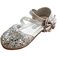 Axinke Toddler Girls Fashion Sequins Princess Shoes Closed-toe Flat Sandals with Bowknot