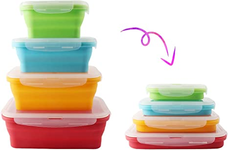Silicon meal prep containers collapsible food storage set of 3 with lid BPA FREE