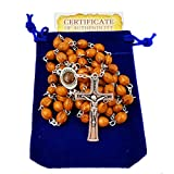 Carved Beads Catholic Rosary Necklace with Jerusalem Soil Centerpiece Rosary Pouch Certificate Holy Land Gift