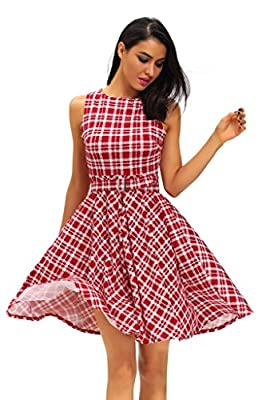 J&Design Women Plaid Sleeveless 50S Vintage Cocktail Party Pinup Swing Dress