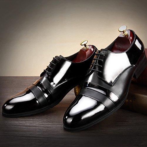 Herren Lederschuhe Herren Lederschuhe britischen Stil wies Business Bright Schuhe formelle Kleidung Hochzeit Schuhe schwarz Herrenschuhe ( Farbe : C - stil , größe : EU39/UK6 ) C - Stil