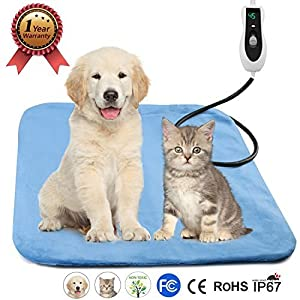 "Pet Heating Pad, Electric Blanket Heating Pad for Dog Cats Bed Mats Pet Heated Bed Warming Pad Heating Mat PETRICH Pet Heater with 2 Pack of Removable Covers, 18"" x 18"""