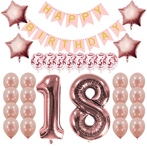 Rose Gold 18th Birthday Decorations Party Supplies Gifts for Girls Women - Create Unique Events with Happy Birthday Banner, 18 Number and Confetti -