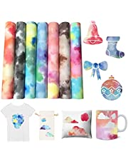 """IYSHOUGONG 7 Sheets infusible Transfer Ink 12""""x10"""" Watercolor Marble Transfer Paper Sublimation Transfer Ink Sheets for DIY T-Shirts Mug Tote Bags Sublimation Projects"""