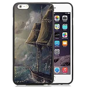 "Hot Sale iPhone 6 Plus 5.5"" TPU Cover Case ,Painting Sea Wave Boat Illust Art Black iPhone 6 Plus 5.5"" TPU Phone Case Unique And Fashion Design"