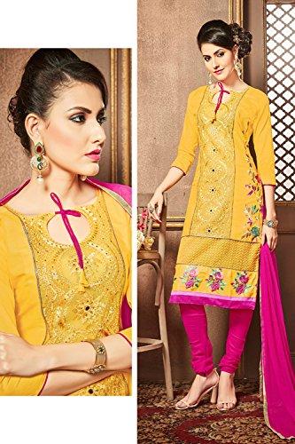 Traditional Salwar Wear Anarkali In Cotton Kameez Da Facioun Indian Yellow Designer Women Party xwwF1TUY
