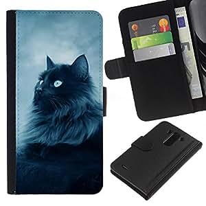 A-type (Majestic Forrest Gato Negro) Colorida Impresión Funda Cuero Monedero Caja Bolsa Cubierta Caja Piel Card Slots Para LG G3