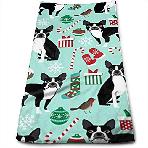 Gysdf7fst4 Boston Terriers Christmas Kitchen Dish Towels with Vintage Design for Kitchen Decor Super Absorbent 100% Natural Cotton Kitchen Towels,12