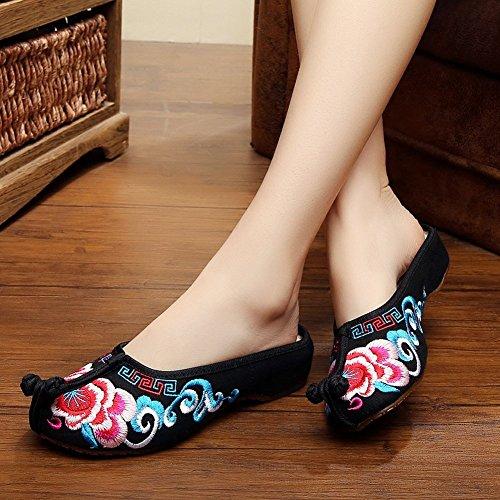 Filles Fereshte Broderie Style Chinois Bout Rond Pantoufles De Marche Occasionnels Noir
