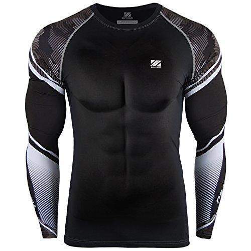 zipravs Men's Jiu Jitsu Rash Guard Compression Workout Base Layer Protection Shirt