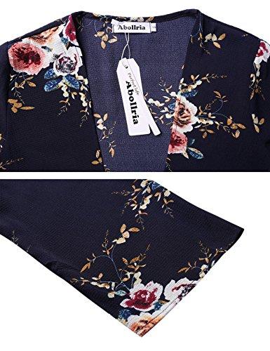 navy Giacca Cardigan Poncho da Bohemian Hem 4 3 Casual Fluid Chiffon Light Floral donna blu Printed caftano Ampio Pareo Kimono Gilet Beach Maniche 1arxt1Sw