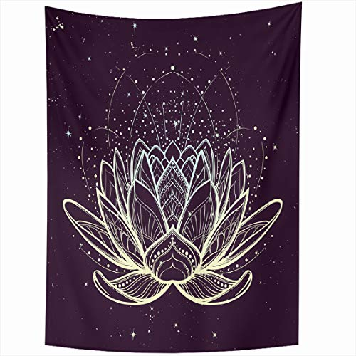 (AlliuCoo Wall Tapestries 50 x 60 Inches Lotus Flower Intricate Linear Drawing Starry Nignt Sky Hindu Yoga Spiritual Designs Tattoo Home Decor Wall Hanging Tapestry Living Room Dorm)
