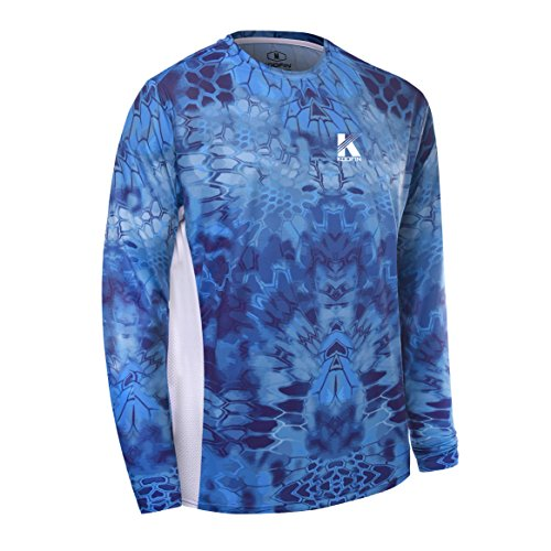 Koofin Performance Fishing Shirt Men UPF 50 UV Sun Protection Long Sleeve Quick Dry Mesh Cooling Rash Guard Kryptek Loose Fit