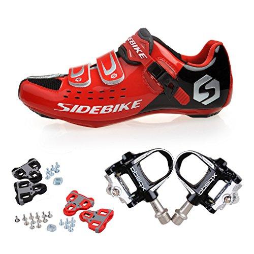 Skyrocket Zapatos de ciclismo de carretera Profesional Zapatos Biking del camino con Pedales de 1 par (Elija por favor un tamaño más grande que generalmente) Negro Pedales + Negro Zapatos