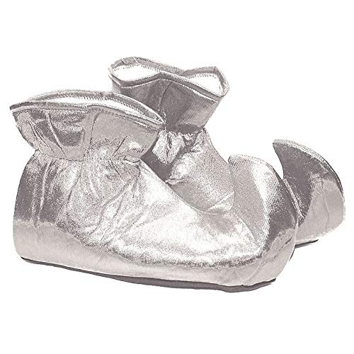 Forum Novelties Women's Deluxe Costume Cloth Elf Shoes, Silver, One Size -