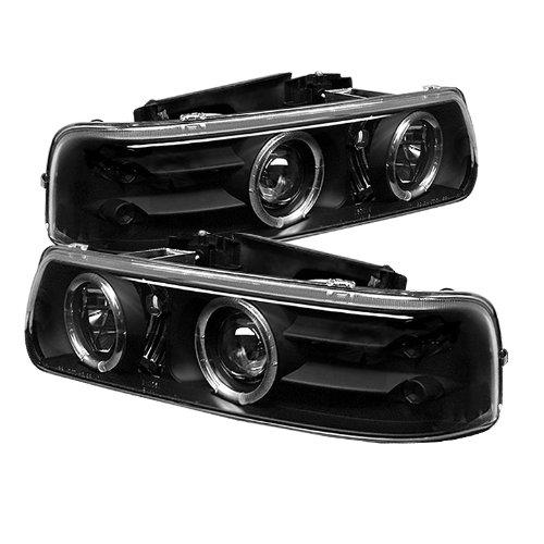 Halo Black Clear Projector Headlights - Spyder Auto 5009593 LED Halo Projector Headlights Black/Clear